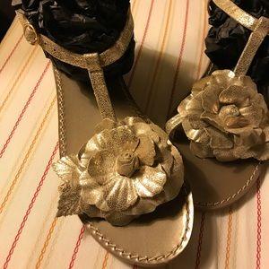 Jack Rodgers Woman's Gold Metallic Flower Sandal